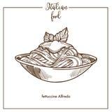 Διανυσματικό εικονίδιο σκίτσων ζυμαρικών του Alfredo Fettuccine για το ιταλικό σχέδιο επιλογών τροφίμων κουζίνας Στοκ Εικόνες