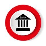 Διανυσματικό εικονίδιο τράπεζας Κόκκινο στρογγυλό εικονίδιο στο άσπρο υπόβαθρο Στοκ εικόνα με δικαίωμα ελεύθερης χρήσης