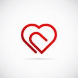 Διανυσματικό εικονίδιο ή λογότυπο συμβόλων έννοιας καρδιών Paperclip απεικόνιση αποθεμάτων