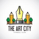 Διανυσματικό εικονίδιο ή λογότυπο συμβόλων έννοιας πόλεων τέχνης διανυσματική απεικόνιση