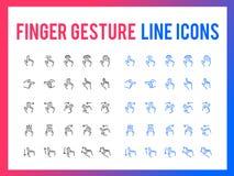 Διανυσματικό εικονίδιο γραμμών χειρονομίας δάχτυλων - app και κινητός Ιστός απαντητικοί απεικόνιση αποθεμάτων