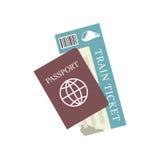 Διανυσματικό εικονίδιο εισιτηρίων διαβατηρίων και τραίνων Ταξίδι και τουρισμός έννοιας Στοκ Εικόνες