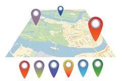 Διανυσματικό εικονίδιο χαρτών με το δείκτη καρφιτσών Στοκ Φωτογραφία