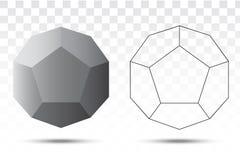Διανυσματικό εικονίδιο Dodecahedron Στοκ Φωτογραφία