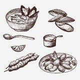 Διανυσματικό εκλεκτής ποιότητας καθορισμένο σχέδιο μυδιών Hand-drawn μύδι επίσης corel σύρετε το διάνυσμα απεικόνισης Στοκ φωτογραφίες με δικαίωμα ελεύθερης χρήσης