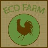 Διανυσματικό εκλεκτής ποιότητας λογότυπο για το αγρόκτημα eco με τη σκιαγραφία κοκκόρων Στοκ Φωτογραφία