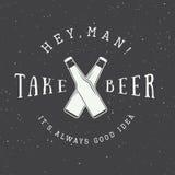 Διανυσματικό εκλεκτής ποιότητας λογότυπο μπύρας με το κίνητρο συνθήματος και διασκέδασης απεικόνιση αποθεμάτων