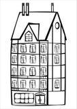 Διανυσματικό εκλεκτής ποιότητας πλαισιώνοντας σπίτι που απομονώνεται στο λευκό Στοκ φωτογραφίες με δικαίωμα ελεύθερης χρήσης