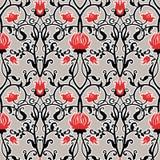 Διανυσματικό εκλεκτής ποιότητας σχέδιο λουλουδιών αναδρομική άνευ ραφής σύστ& Στοκ Εικόνες