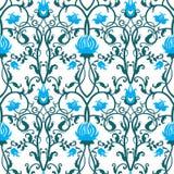 Διανυσματικό εκλεκτής ποιότητας σχέδιο λουλουδιών αναδρομική άνευ ραφής σύστ& Στοκ φωτογραφία με δικαίωμα ελεύθερης χρήσης