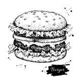 Διανυσματικό εκλεκτής ποιότητας burger σχέδιο Συρμένο χέρι μονοχρωματικό γρήγορο φαγητό ι ελεύθερη απεικόνιση δικαιώματος