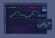 Διανυσματικό εμπορικό ταμπλό για το bitcoin Στοκ Φωτογραφία
