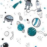 Διανυσματικό επίπεδο διαστημικό άνευ ραφής υπόβαθρο σχεδίων Στοκ εικόνες με δικαίωμα ελεύθερης χρήσης