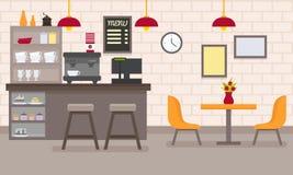 Διανυσματικό επίπεδο εσωτερικό καφέδων Στοκ Εικόνες
