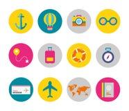 Διανυσματικό επίπεδο σύνολο εικονιδίων στοιχείων ταξιδιού στοκ εικόνα με δικαίωμα ελεύθερης χρήσης
