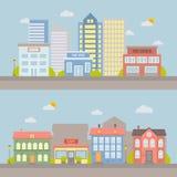 Διανυσματικό επίπεδο τοπίο πόλεων για το σχέδιο και την απεικόνιση Στοκ Φωτογραφία