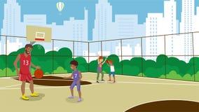 Διανυσματικό επίπεδο τραίνο τρόπου ζωής καλαθοσφαίρισης ενεργό ελεύθερη απεικόνιση δικαιώματος