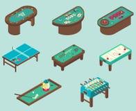 Διανυσματικό επίπεδο isometric σύνολο εικονιδίων επιτραπέζιων παιχνιδιών Στοκ φωτογραφία με δικαίωμα ελεύθερης χρήσης