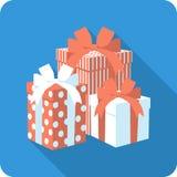 Διανυσματικό επίπεδο κιβώτιο δώρων εικονιδίων κόκκινο με το τόξο κορδελλών Στοκ Εικόνες