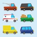 Διανυσματικό επίπεδο σύνολο εικονιδίων σύγχρονων οχημάτων στοκ εικόνα