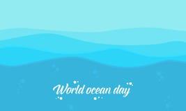 Διανυσματικό επίπεδο υποβάθρου ύφους παγκόσμιας του ωκεάνιου ημέρας Στοκ εικόνες με δικαίωμα ελεύθερης χρήσης