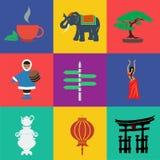 Διανυσματικό επίπεδο χρώμα της Ασίας Στοκ εικόνες με δικαίωμα ελεύθερης χρήσης