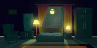 Διανυσματικό εσωτερικό της κρεβατοκάμαρας με τα έπιπλα τη νύχτα απεικόνιση αποθεμάτων