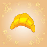 Διανυσματικό εύγευστο ευώδες croissant doodle αποθεμάτων Στοκ Εικόνες