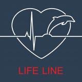 Διανυσματικό δελφίνι και σφυγμός γραμμών ζωής στην καρδιά Στοκ εικόνα με δικαίωμα ελεύθερης χρήσης