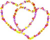 Διανυσματικό ζεύγος των καρδιών χίπηδων φιαγμένων από λουλούδια Στοκ Εικόνα