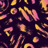 Διανυσματικό ζωηρόχρωμο άνευ ραφής σχέδιο με τα κτυπήματα και τα σημεία βουρτσών Ρόδινο κίτρινο χρώμα κλίσης στο ιώδες υπόβαθρο Χ Στοκ Εικόνα