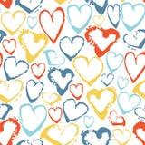 Διανυσματικό ζωηρόχρωμο άνευ ραφής σχέδιο με τις καρδιές κτυπημάτων βουρτσών fractal λουλουδιών φαντασίας καλοκαίρι εικόνας Χρώμα Στοκ Εικόνα