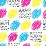 Διανυσματικό ζωηρόχρωμο άνευ ραφής σχέδιο με τους λεκέδες και το κύμα βουρτσών Ρόδινο μπλε κίτρινο μαύρο χρώμα στο άσπρο υπόβαθρο Στοκ εικόνα με δικαίωμα ελεύθερης χρήσης