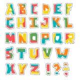 Διανυσματικό ζωηρόχρωμο αλφάβητο περικοπών χεριών ψηλό με το σύνολο διαστιγμένων γραμμών Στοκ εικόνα με δικαίωμα ελεύθερης χρήσης