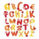 Διανυσματικό ζωηρόχρωμο αλφάβητο πηγών λουλουδιών Στοκ εικόνα με δικαίωμα ελεύθερης χρήσης