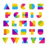 Διανυσματικό ζωηρόχρωμο αλφάβητο φιαγμένο από απλές μορφές Στοκ Φωτογραφίες
