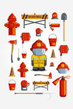 Διανυσματικό ζωηρόχρωμο εκλεκτής ποιότητας επίπεδο σύνολο εικονιδίων απεικόνιση για infographic Εξοπλισμός πυροσβεστών και εθελον Στοκ φωτογραφίες με δικαίωμα ελεύθερης χρήσης