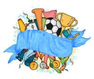 Διανυσματικό ζωηρόχρωμο εορταστικό έμβλημα σχεδίου με την μπλε κορδέλλα και τα αντικείμενα Στοκ εικόνες με δικαίωμα ελεύθερης χρήσης