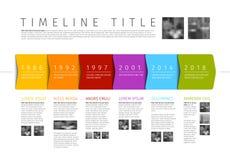 Διανυσματικό ζωηρόχρωμο πρότυπο εκθέσεων υπόδειξης ως προς το χρόνο Infographic Στοκ Φωτογραφίες