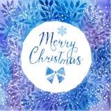 Διανυσματικό ζωηρόχρωμο πλαίσιο κύκλων watercolor Πλαίσιο με το copyspace για το κείμενό σας Πλαίσιο Χαρούμενα Χριστούγεννας για  Στοκ Εικόνες