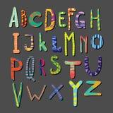 Διανυσματικό ζωηρόχρωμο συρμένο χέρι αλφάβητο Επιστολές με τα σχέδια χαρακτήρας font απεικόνιση αποθεμάτων