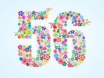 Διανυσματικό ζωηρόχρωμο Floral σχέδιο 56 αριθμού που απομονώνεται στο άσπρο υπόβαθρο Floral αριθμός πενήντα έξι χαρακτήρας διανυσματική απεικόνιση