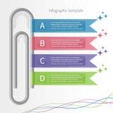 Διανυσματικό ζωηρόχρωμο infographic πρότυπο με το paperclip και τις κορδέλλες Στοκ Φωτογραφία