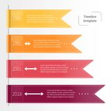 Διανυσματικό ζωηρόχρωμο infographic πρότυπο υπόδειξης ως προς το χρόνο με τις κορδέλλες Στοκ φωτογραφία με δικαίωμα ελεύθερης χρήσης