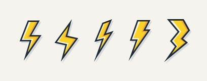 Διανυσματικό ηλεκτρικό σύνολο λογότυπων μπουλονιών αστραπής διανυσματική απεικόνιση