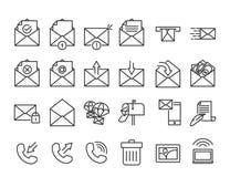 Διανυσματικό ηλεκτρονικό ταχυδρομείο, τηλέφωνο και επικοινωνία λεπτό σύνολο εικονιδίων γραμμών απεικόνιση αποθεμάτων
