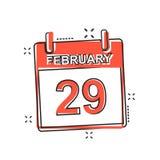 Διανυσματικό ημερολογιακό εικονίδιο στις 29 Φεβρουαρίου κινούμενων σχεδίων στο κωμικό ύφος Calenda Στοκ Εικόνα