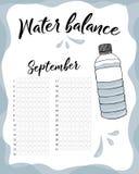Διανυσματικό ημερολόγιο ισορροπίας νερού Μηνιαίος ιχνηλάτης νερού Κατανάλωση νερού την εβδομάδα και μήνα Σεπτέμβριος απεικόνιση αποθεμάτων