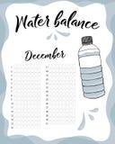 Διανυσματικό ημερολόγιο ισορροπίας νερού Μηνιαίος ιχνηλάτης νερού Κατανάλωση νερού την εβδομάδα και μήνα Δεκέμβριος ελεύθερη απεικόνιση δικαιώματος