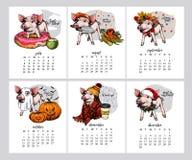 Διανυσματικό ημερολόγιο με το σύμβολο έτους Εξάμηνος χοίρος Αύγουστος Ιουλίου, Σεπτέμβριος, Οκτώβριος, Νοέμβριος, αρμόδιος για το ελεύθερη απεικόνιση δικαιώματος
